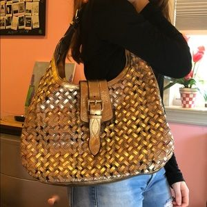 Burberry Classic Check Brook Gold PVC/Leather Hobo